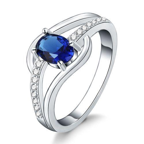 Neworldline Fashion Women Blue Crystal Round Zirconia Band Silver Ring Jewelry Size 7-Silver