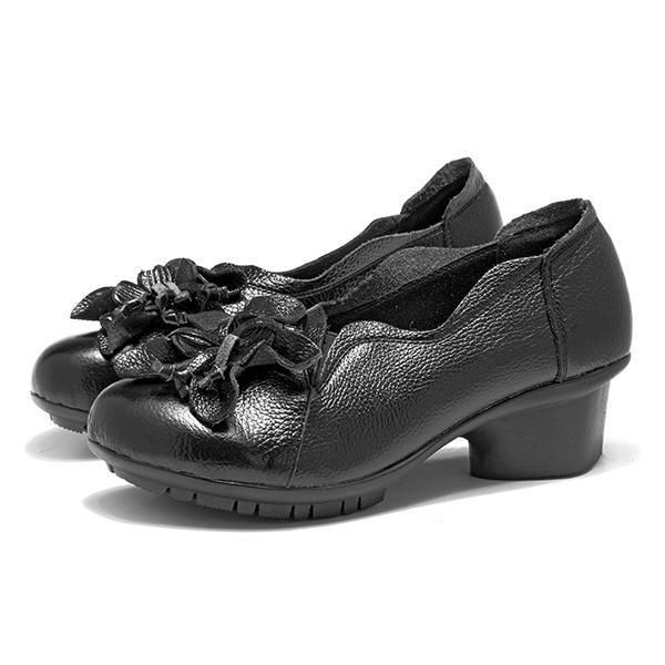 d3e6036e2 Fashion SOCOFY Fashion Women Flower Pure Color Mid Heel Retro Soft Pumps-EU