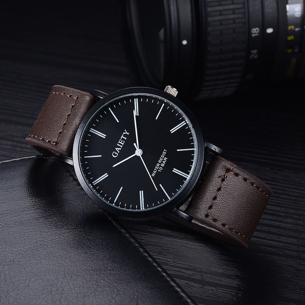 Fashion Watch Men Business Fashion Leather Band Analog Quartz Round Wrist Watch Watches Brown-Brown