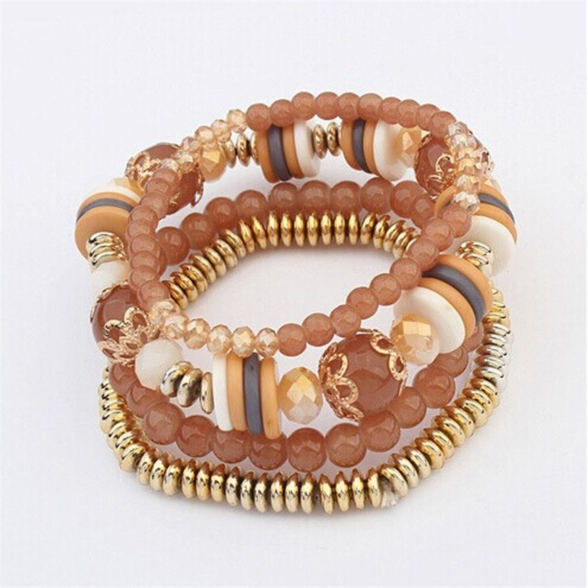Neworldline Women Multilayer Beads Bangle Bracelets-Coffee