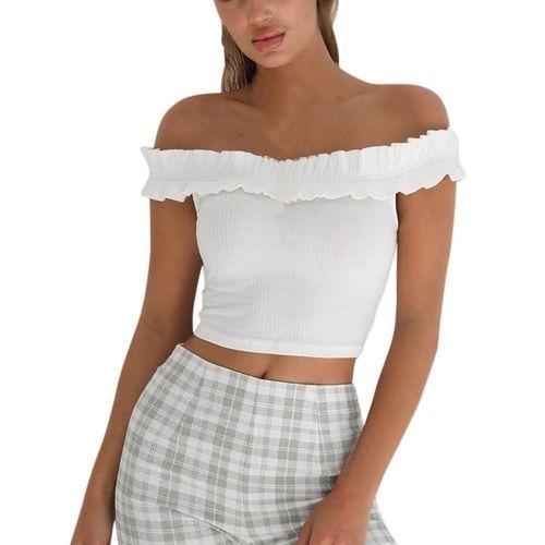 c960b98860868 Generic Fashion Women s Korean-styles Slash Neck Bare Midriff Short Sleeve  T-shirt Crop Tops Blouse