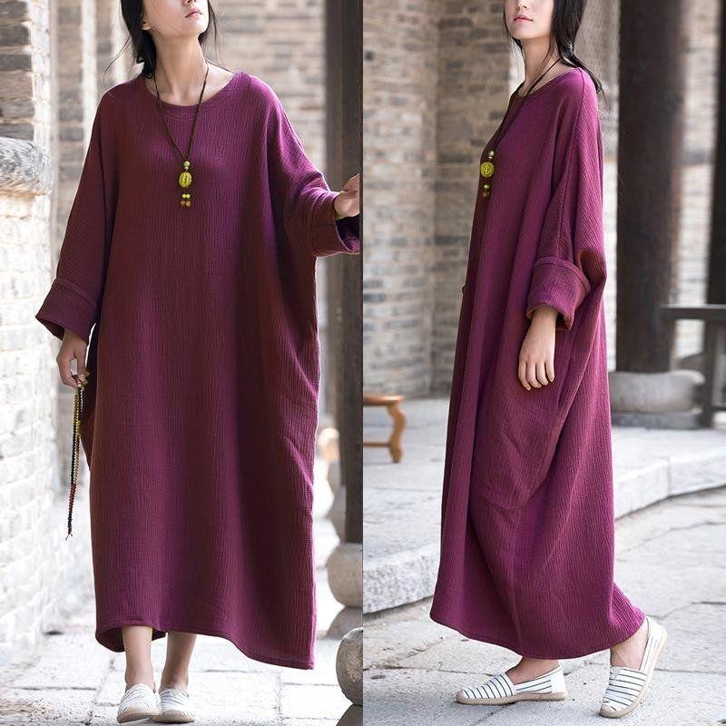 20bc687eb030 ZANZEA ZANZEA Womens Vintage Batwing Sleeve Baggy Kaftan Pockets Maxi Long  Dress Casual Party Solid Vestido Plus Size (Purple)
