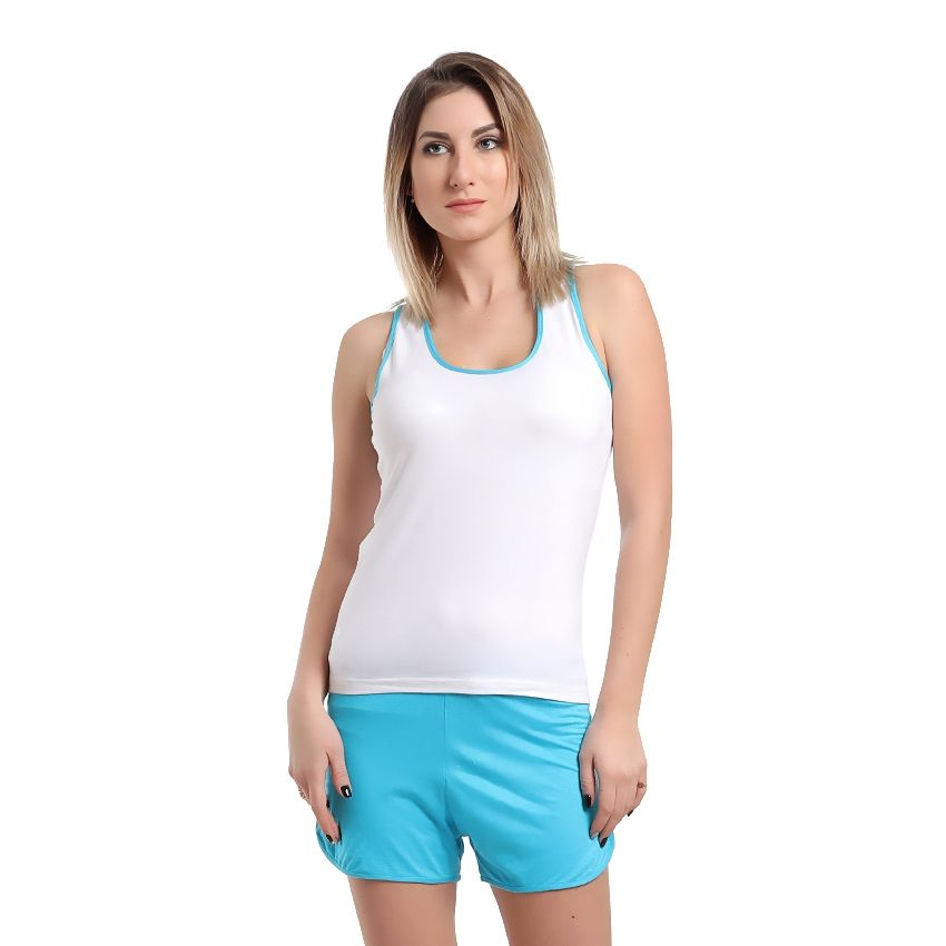 78d2a375bb7a Buy No Brand Pajama Cotton Hot Short - White   Light Blue in Egypt