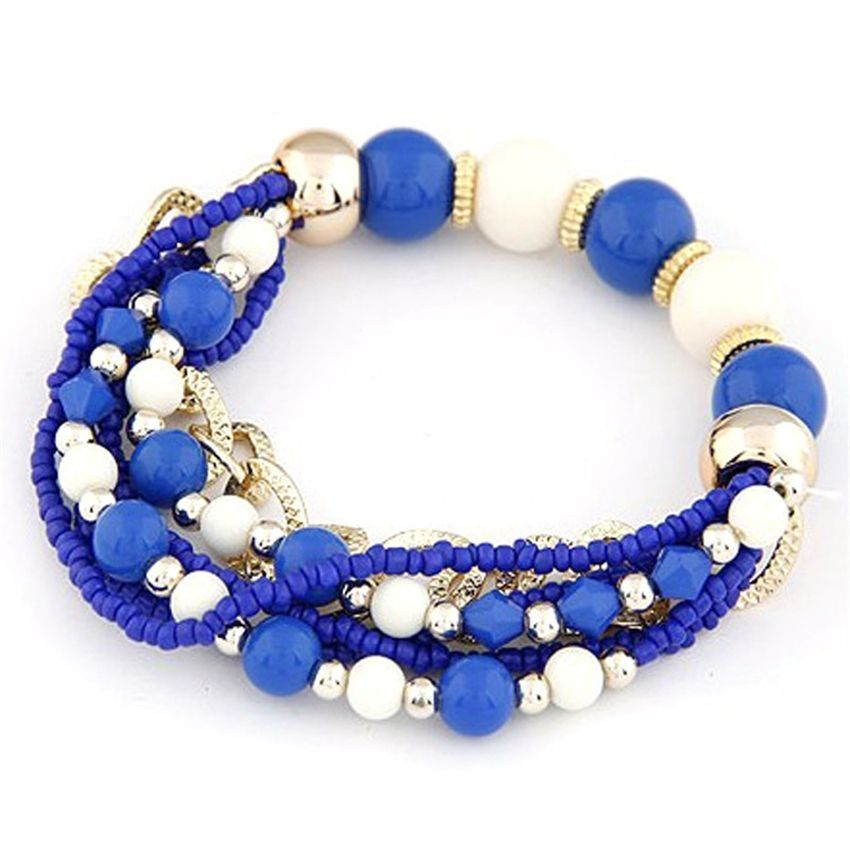 Neworldline Women Multilayer Beads Bangle Bracelets-Blue