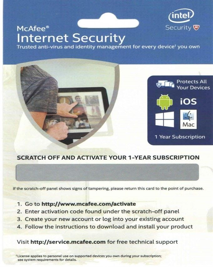 McAfee Internet Security - 1 Year Activation Card
