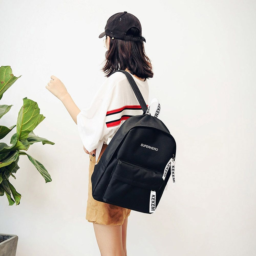 a840c39227b0 Neworldline Women Girls Fashion Letter Print Preppy Style School Bag Travel Backpack  Bag - Black