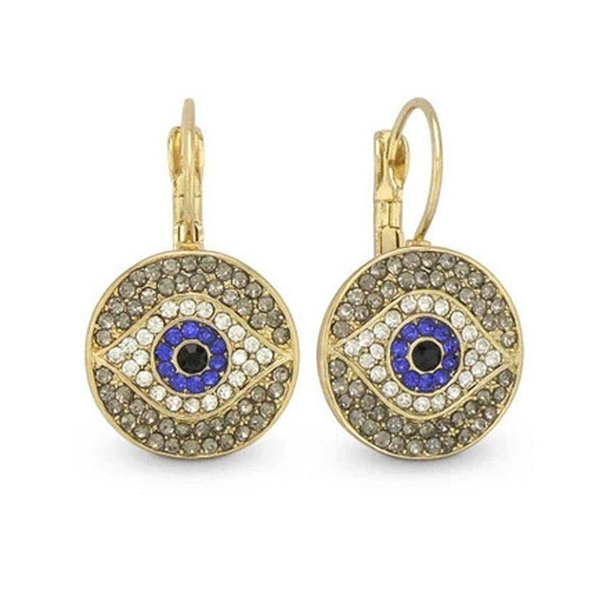Neworldline Fashion Women Lady Crystal Blue Eyes Pearl Ear Stud Earrings Jewelry-Gold