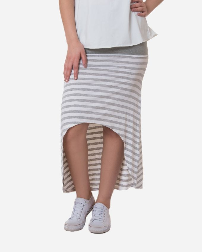 Andora Striped Cotton Skirt - Grey