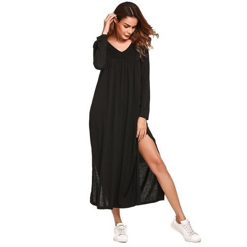 7848aa56bb Sunshine Women V-Neck Long Sleeve Split Solid Casual Loose Fit Maxi Tent  Dress-Black