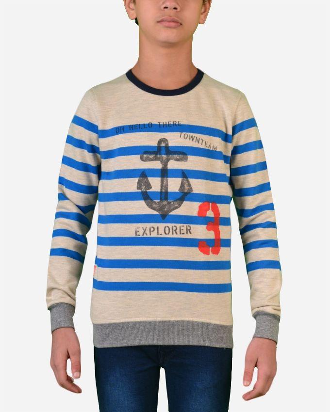 Town Team Striped Round Neck SweatShirt - Indigo