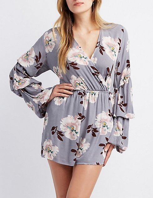 a19c6371eac7 Charlotte Russe Floral Surplice Bell Sleeve Romper Price in Egypt ...