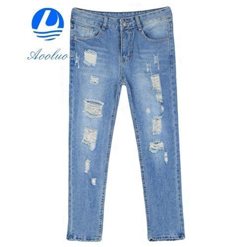 03c66e500 No Brand Hot Sale Comfortable Aooluo New Fashion Women s Pencil Pants  Casual Slim Pencil Pants Skinny Ripped Denim Jeans (Light Blue)