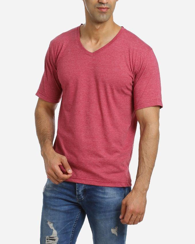 Andora Solid V-Neck T-Shirt - Burgundy