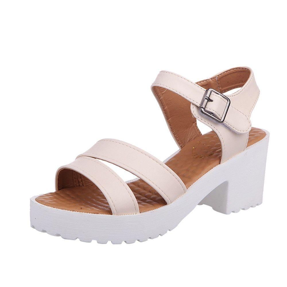 6e8fe62561c282 Fashion Blicool Shoes Women Outdoor Round Toe Platform High Heels Wedges  Sandals Buckle Slope Shoes Beige