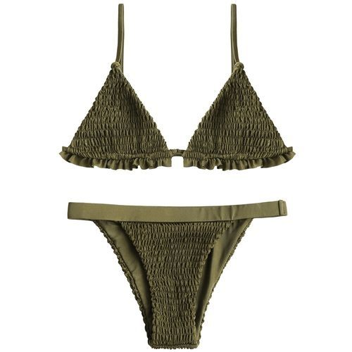 3e5002dc05d23 Zaful Bralette Smocked Ruffles Bikini Set-ARMY GREEN Price in Egypt ...