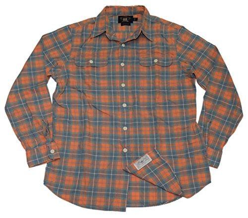 53a0f1ac US RALPH LAUREN Polo Double RL RRL Mens Workshirt Shirt Plaid Orange Green  Medium