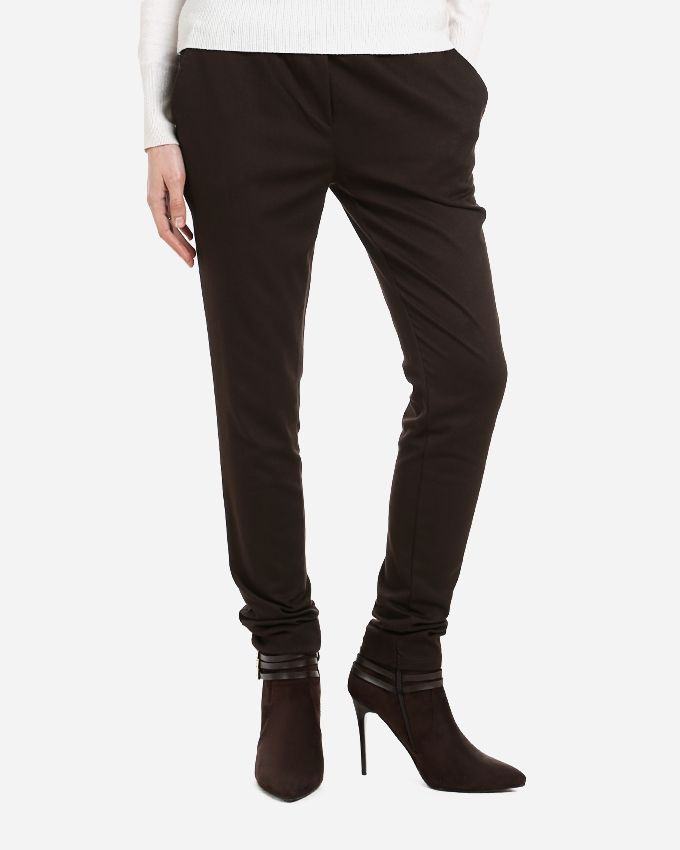 Andora Solid Pants - Brown