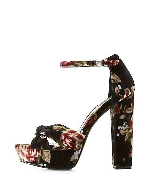 72294abd467b Charlotte Russe Floral Velvet Two-Piece Platform Sandals