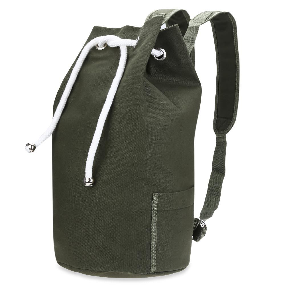 3b40940631dd Fashion Men Drawstring Canvas Bucket Gym Bag - Army Green