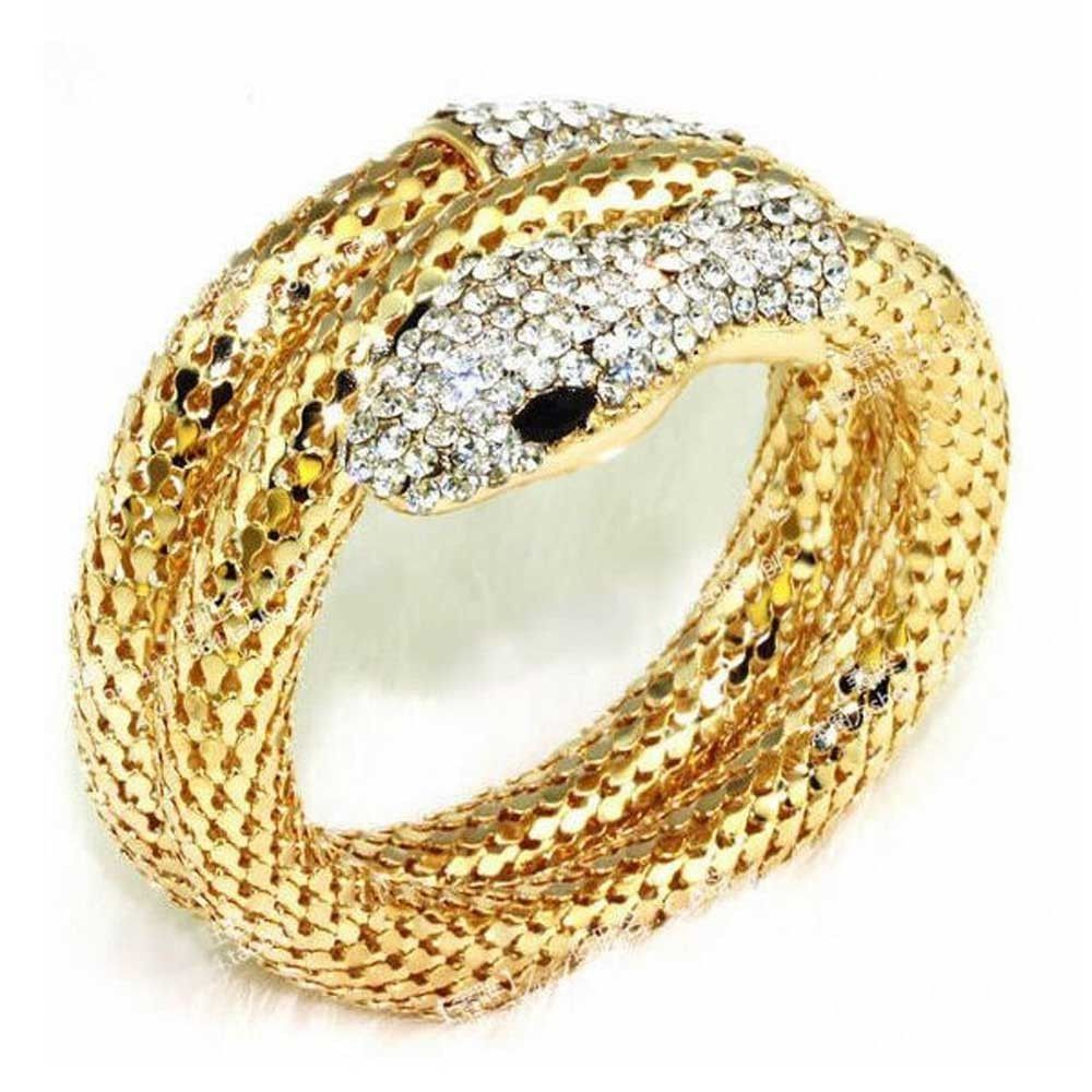 Neworldline Punk Rhinestone Curved Stretch Snake Cuff Bangle Bracelet -Gold