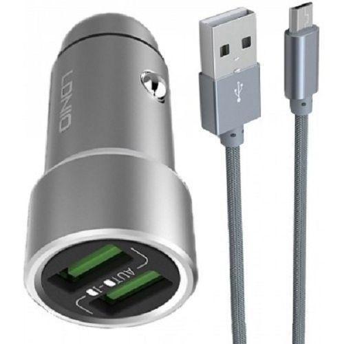 b137f9bb8dc3a LDNIO C302 Dual Port USB Car Charger 5A 3.6A Smart   Quick + Micro USB Cable