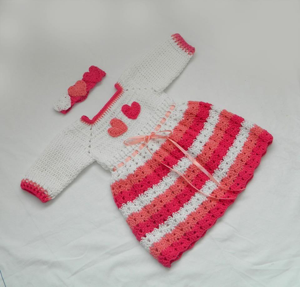 Babybee Handmade Crochet Hearts Baby Dress - White   Pink  4202c61d1fbd