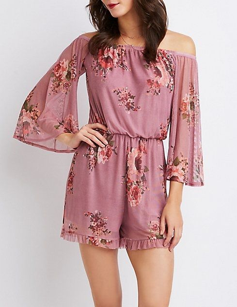 cd12bf1f2571 Charlotte Russe Floral Off-The-Shoulder Romper Price in Egypt ...