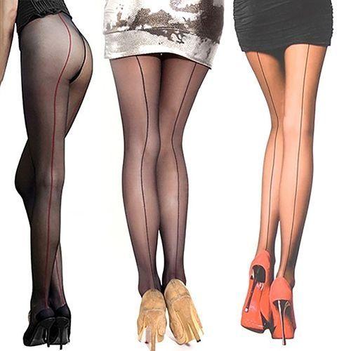 074206ae13992 Sanwood Sexy Women's Ultra Sheer Transparent Line Back Seam Tights  Stockings Pantyhose-Black