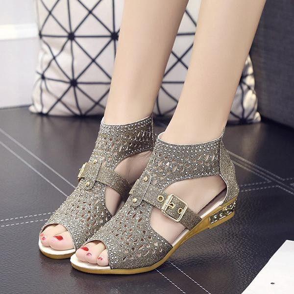 59eb6ae2189 Fashion Fashion Women Peep Toe Rhinestone Hollow Out Wedges Zipper Roman  Flat Sandals