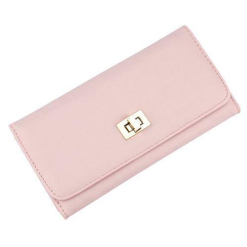 Neworldline Lady Long Cross Clutch Purse Handbag Card Holder Bag Simple Wallet Pink-Pink