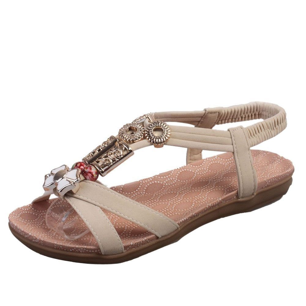 2d121cce037443 Neworldline Fashion Women Boho Sandals Leather Flat Sandals Ladies Shoes  -Beige (EU Sizing)