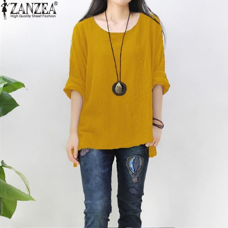 cd0c6cb1b7bf35 ZANZEA ZANZEA Womens Retro O Neck Long Sleeve Split Baggy Cotton Linen  Casual Loose Solid Party Tops Kaftan Shirt Blouse Plus Size (Yellow)