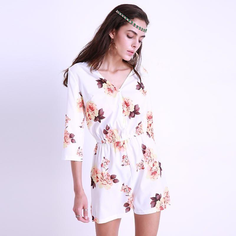 26826e76e1237 Fashion New Women Summer Sexy Playsuit Plus Size S-3XL Floral ...