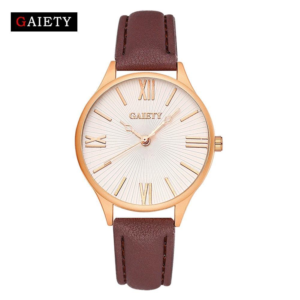 Fashion Watch Women Leather Band Analog Quartz Round Wrist Watch Watches Brown-Brown
