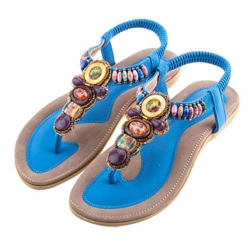 1904a7df7aaaf4 ... Buy Siketu Women Bohemia Beach Flip-flop Sandals - Blue in Egypt  discount sale 5bfc4 ... Sandymarket SIKETU Ladies Bohemia Beads Elastic Band  ...