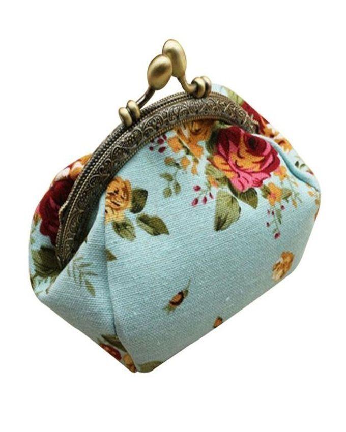 Neworldline Women Lady Retro Vintage Flower Small Wallet Hasp Purse Clutch Bag-Blue