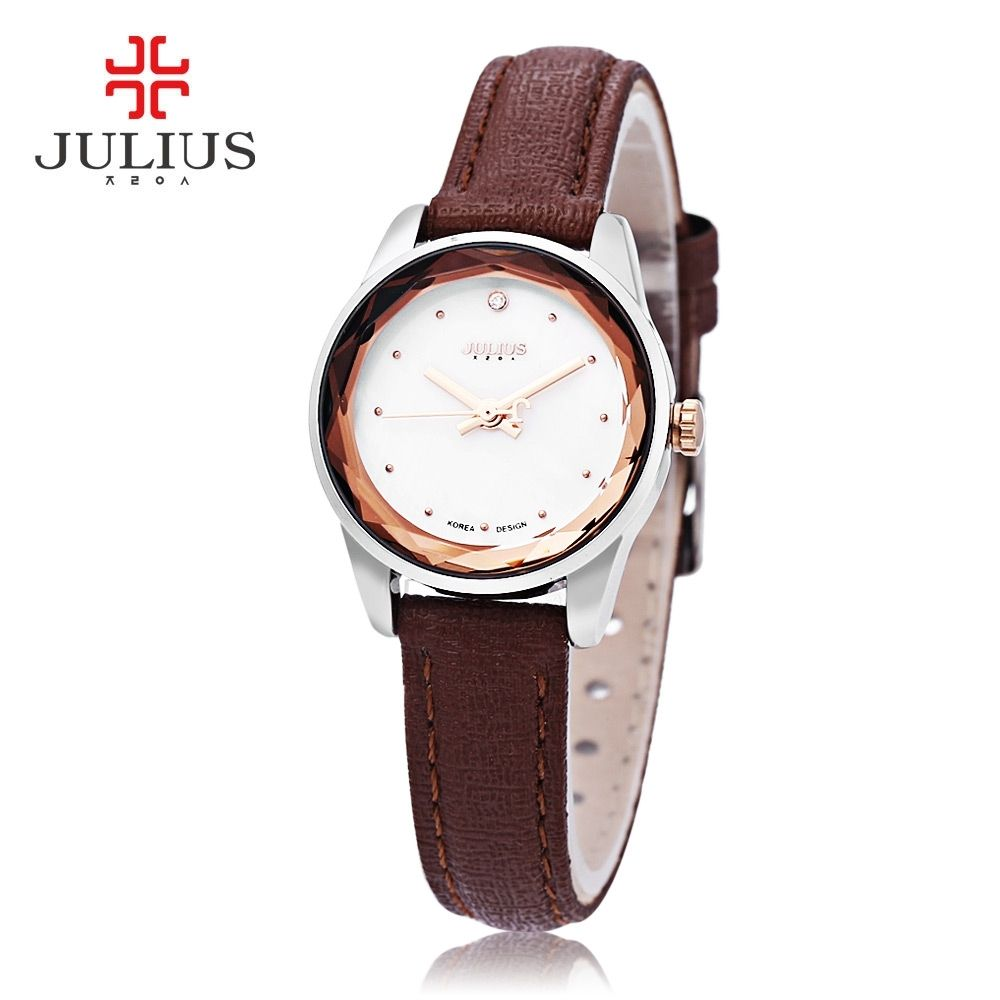 2e296374c Julius JA - 723 Female Quartz Watch Slender Band Spot Scale Small Dial  Stereo Cut Mirror 3ATM Wristwatch (Brown)
