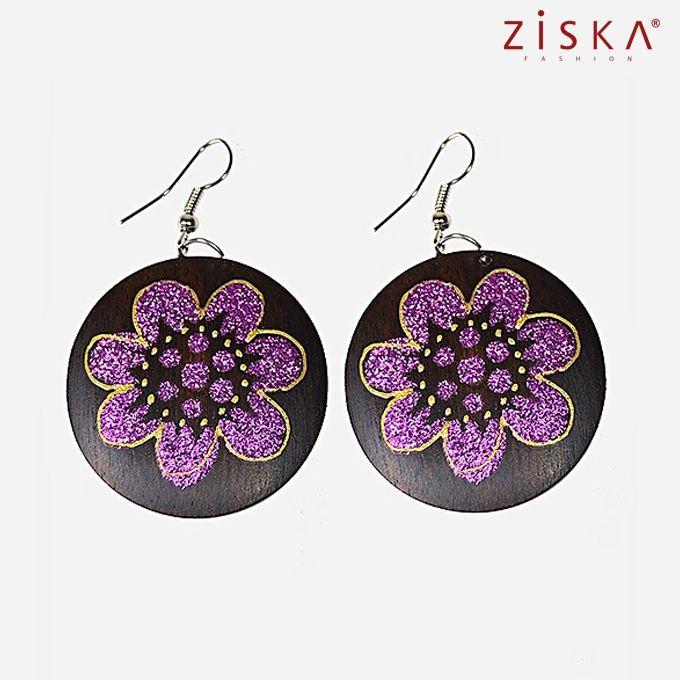 ZISKA Wooden Earrings - Brown & Pruple