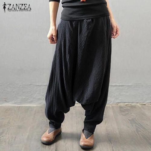 1dea5448d44 ZANZEA ZANZEA Women Retro Baggy Elastic Waist Cotton Long Harem Pants  Pockets Solid Drop-Crotch Trousers Linen Pantalon Plus Size Black