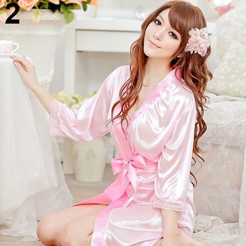 f19e2cd6b9 Sanwood Women Fashion Fantastic Sexy Wild Temptation Lace Sleepwear Bathrobe  + G-string-Pink