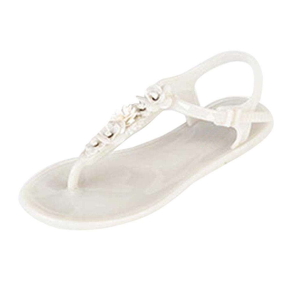 6c06a044aa0e60 Fashion Women Flip Flops Beach Sandals Fashion Bling Slippers Summer Women  Flat -White