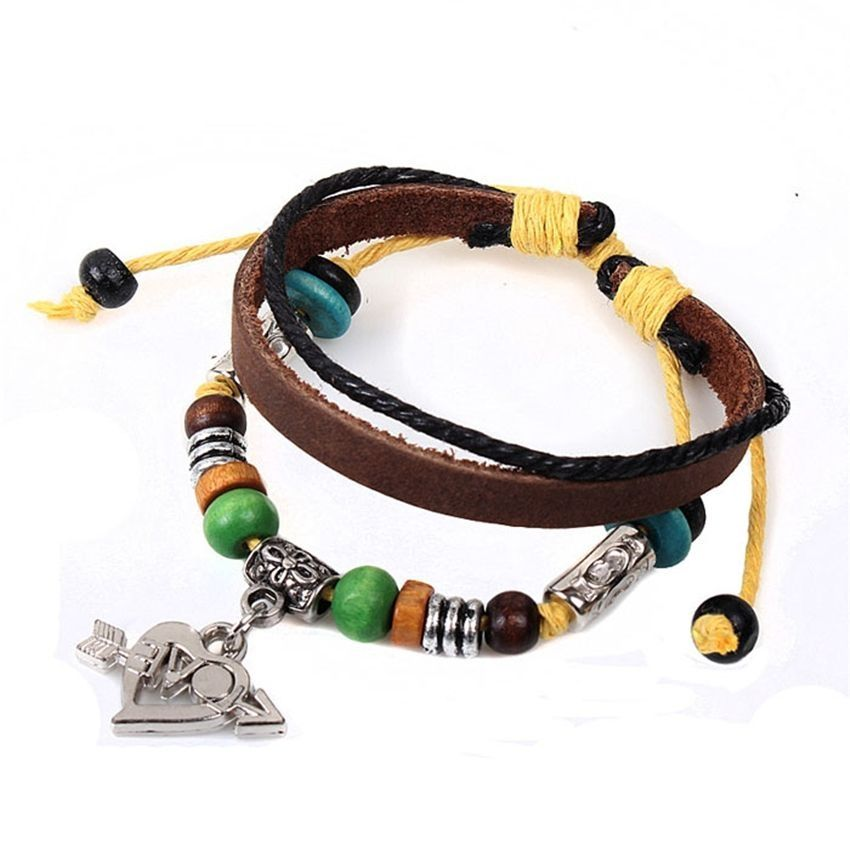 Neworldline New Lovers Stone Mandrel Bead Wrist Bracelet Leather Vintage Jewelry-Brown