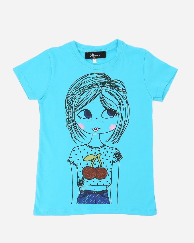 Andora Girls Printed T-Shirt - Turquoise