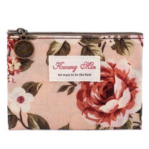 Neworldline Vintage Floral Printed Bag Women Make Up Bags Travel Bag Make Up Pouch Coin Bag-Pink
