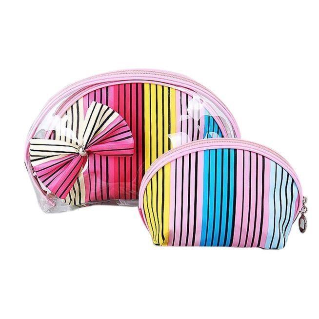 Neworldline 3pcs Cosmetic Toiletry Travel Wash Makeup Bag Holder Pouch Kits Set MR-Multicolor
