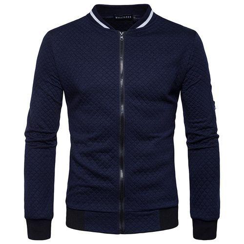 ca74983ed Glorystar New Winter Men's Jacket Diamond Sweatshirt Lattice Contrast Color  Zipper Collar Sweater Coat Off -Navy Blue
