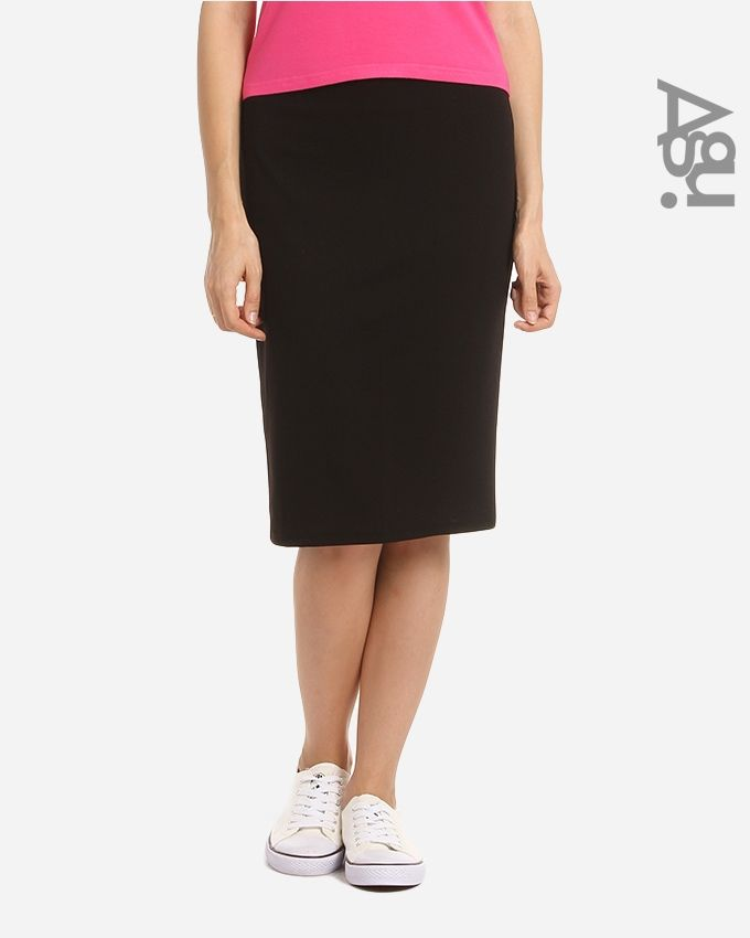 Agu Solid Pencil Skirt - Black