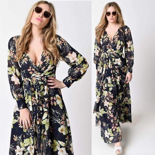 2874c497d6 Zaful Women Boho Dress Plunging Neck Floral Print Chiffon Wrap Dresses Maxi  Vestidos - Black+Pink -XXL Price in Egypt | Jumia | Dresses | kanbkam