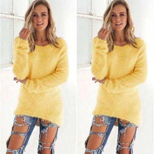202a0d6d7 Glorystar Fashion Women Casual Tops Mohair Blend Fuzzy Blouse Pullover  Jumper Loose Sweater Knitwear-yellow