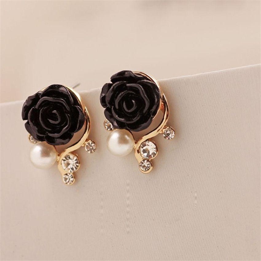 Neworldline Rose Shaped Artificial Pearl And Diamond Stud Earrings Bk- Black